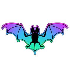 flying bat stylized animal drawing vector image