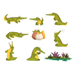 Friendly crocodile in different poses set funny vector