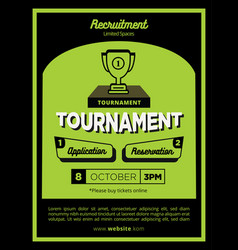 fun and creative green tournament poster or flyer vector image