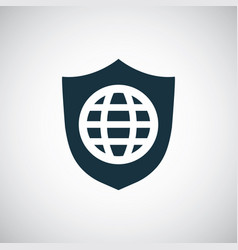globe shield icon for web and ui on white vector image