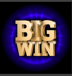 gold 3d word big win vector image
