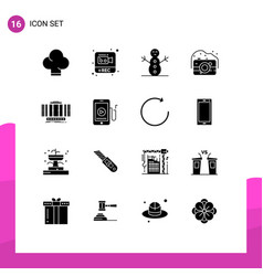 Group 16 solid glyphs signs and symbols vector