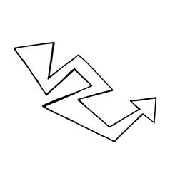 Hand drawn arrow doodle design element vector image