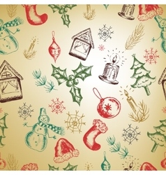Hand drawn Christmas seamless pattern EPS vector image
