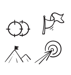 hand drawn simple set target and goal related vector image