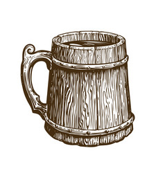 Hand-drawn vintage wooden mug of craft beer ale vector