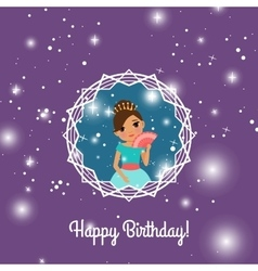 Happy Birthday violet card with princess vector image