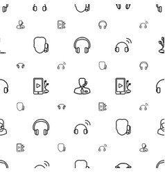 headset icons pattern seamless white background vector image