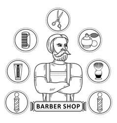 hipster man barber shop monochrome symbols vector image