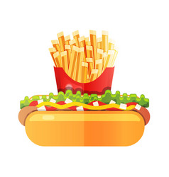 hotdog with mustard with french fries at the vector image