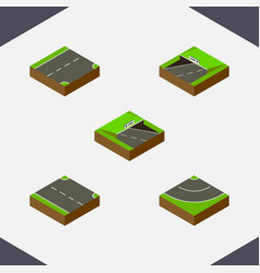 Isometric road set of rightward underground down vector