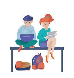 kids boy and girl studying with laptop and tablet vector image