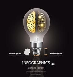 Light Bulb Brain Electric Circuit Design Template vector