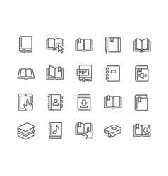 Line Book Icons vector