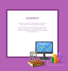 Market and economic cartoon with text vector