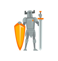 Medieval armored knight warrior character with vector