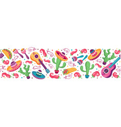 mexican objects banner vector image