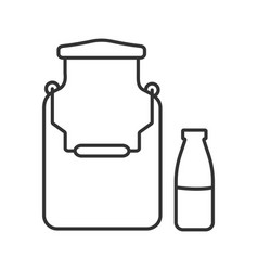 Milk can and bottle linear icon vector