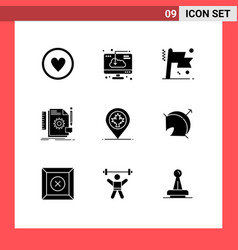 Modern set 9 solid glyphs and symbols vector