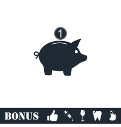 Moneybox icon flat vector