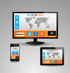 Monitor smartphone and a tablet with websites vector image