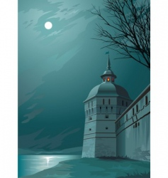 moonlight castle vector image