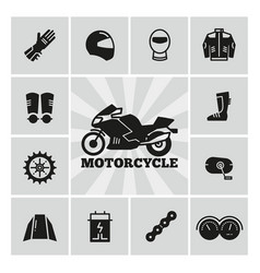 Moto parts motorcycle accessories silhouette icons vector