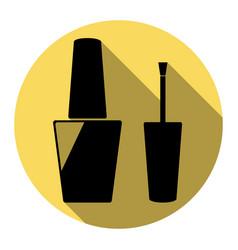 nail polish sign flat black icon with vector image