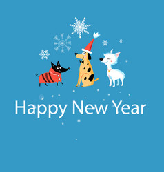 new years greeting card with funny dogs vector image