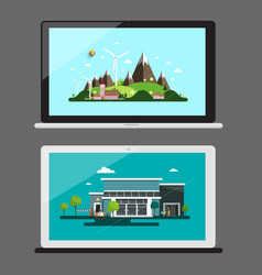 notebook icons notebooks with landscapes on screen vector image