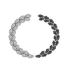 Oak wreath black isolated on a white background vector