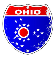 Ohio flag icons as interstate sign vector