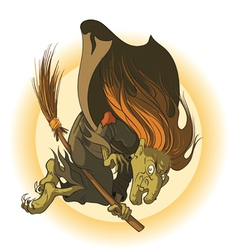 old evil witch flying on a broomstick vector image
