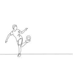 One continuous line drawing young man soccer vector