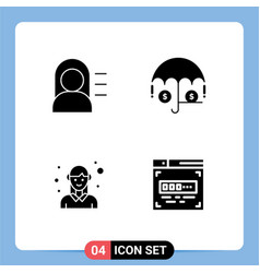 Pack creative solid glyphs education woman vector