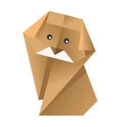 paper origami colorful dog with black eyes vector image