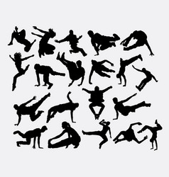 Parkour fitness sport silhouette vector