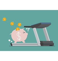 Piggy bank running on a treadmill vector
