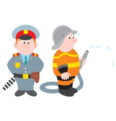 Policeman and fireman vector