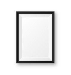 realistic blank black picture frame with shadow vector image