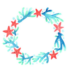 Red starfish and blue coral wreath watercolor vector