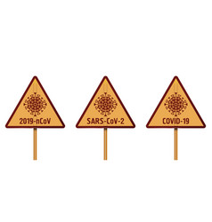 Sars-cov-2 virus set triangular warning signs vector