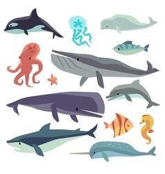Sea marine fish and animals flat set vector