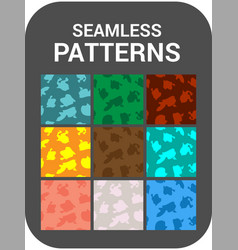 set of 9 cards seamless patterns vector image