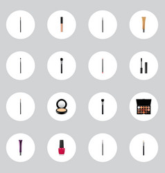 set of maquillage realistic symbols with eyeshadow vector image
