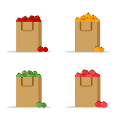 set of paper bagpackage red yellow green tomatoes vector image