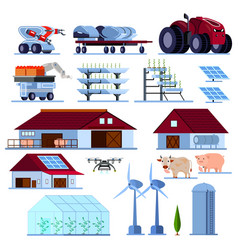 Smart farming orthogonal flat set vector