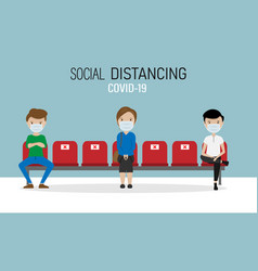 Social distance in waiting room covid-19 vector