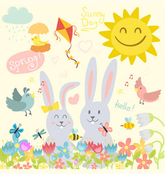 spring natural floral background with vector image