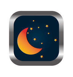 Square button with relief with moon and stars vector